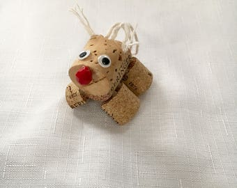 Reindeer Christmas Ornament - Rudolph - Christmas Tree - Holiday - Christmas Gifts - Wine Cork - Wine Lover - Christmas Decorations