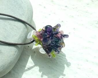Wild iris Flower: handmade Lampwork Glass bail pendant