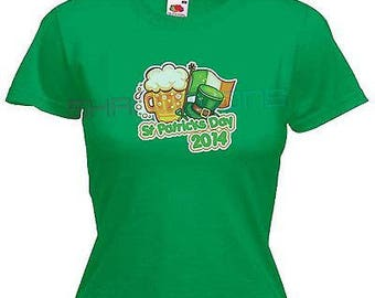 St patricks day paddys day ladies lady fit t shirt 13 colours size 6 - 16