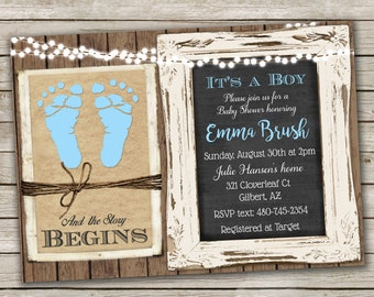 Rustic Baby Boy Shower Invitation over Brown Kraft Paper, Wood and Chalkboard with Baby Blue Footprints