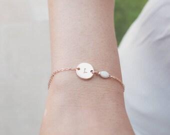 Rose Gold initial & Opal Bracelet, Rose Gold Bracelet, Personalised Disc Bracelet, Initial Bracelet, Opal Bracelet, Dainty bracelet