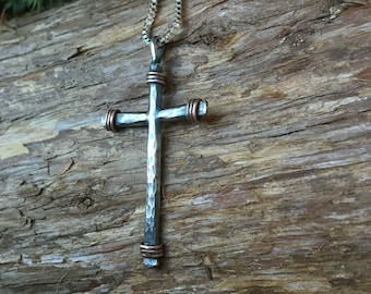 Men's Mixed Metal Cross Necklace