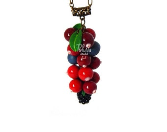 Romantic Autumn charm pendant - woodland vintage necklace - red berry real  fruit  necklace - food necklace - red charm pendant