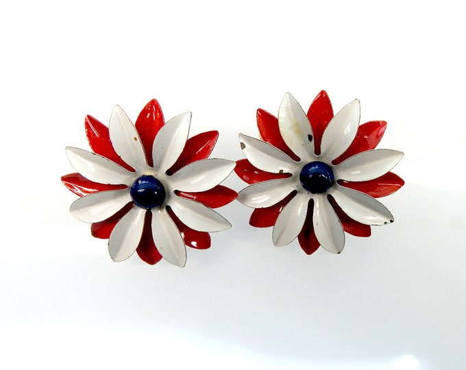 red white and blue flag earrings for non pierced ears.