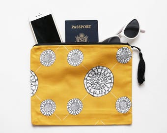 Clutch with tassel 7x10 | Makeup Bag, Cosmetic Pouch, Travel Bag, Purse, Fold Over Clutch, Mustard Yellow Large Clutch