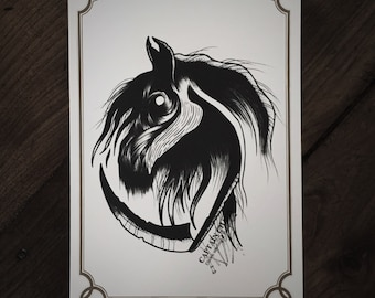 LIMITED Black Horse - Tattoo print 50/50 signed