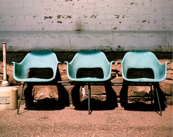 Modern Rustic Photography, Three Chairs At A Train Station In Montana, Blue  Photography, Photo Gallery