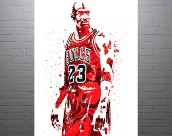 Michael Jordan Chicago Bulls Sports Art Print Basketball Poster Kids Decor Watercolor Contemporary Abstract Drawing Man Cave