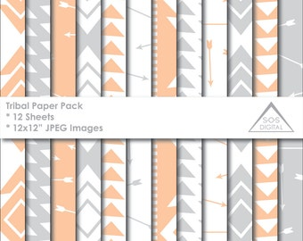 Tribal Arrows Paper Pack, Digital Papers, Arrows, Triangles, Aztec, Scrapbooking, peach and gray, Background, Pattern, Small Commercial Use