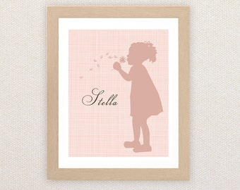 Printable Personalized Nursery Wall Art. Child Silhouette. Boy or Girl.