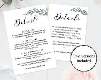 wedding enclosure cards template