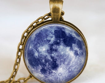 Blue moon necklace, full moon jewelry, moon pendant, lunar pendant, moon jewelry , space pendant