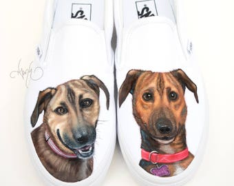 Custom Vans Shoes with Dogs - Hand Painted Dog Shoes German Shepard and Labrador Portraits