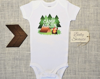 Personalize The Name - Camping Tent, Bonfire, Trees - Baby One Piece Bodysuit or Toddler Kids Children's T-shirt