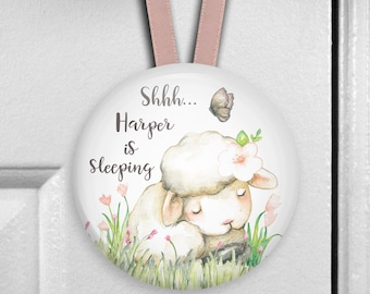 Baby is sleeping  sign for door - Personalized door hangers -  baby sheep nursery decor -  personalized nursery decor - HAN-PERS-32A