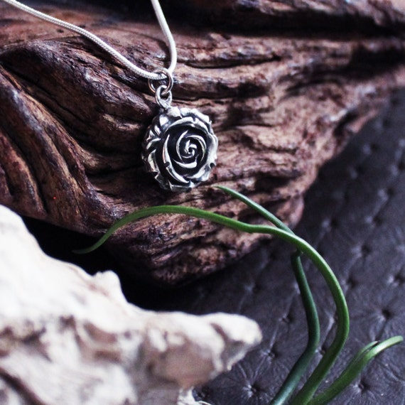 Silver Rose Pendant, Victorian Rose Pendant, Flower Pendant, Flower Jewelry, Delicate Rose, Gift For Mom, Silver Rose Necklace, Big Flower