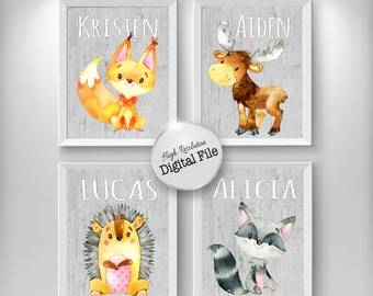 Baby Nursery Decor, Name Poster, Forest Animals, Nursery Print, Kids Room Poster, Digital Prints