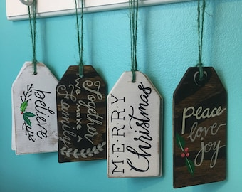 Wooden christmas tags|handmade ornaments| stocking hangers| stocking stuffers| merry christmas wood tag| believe wood tag