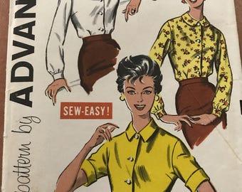 Ladies Blouse, Advance Sewing Pattern 9157, Size 12, 1950's