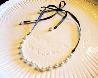 Bridesmaid Victorian Satin Ribbon and Pearl Necklace