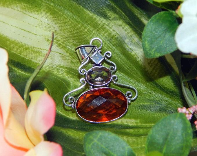 Prince Ilmu Khodam inspired vessel - Handcrafted Cognac Citrine Moonstone pendant necklace