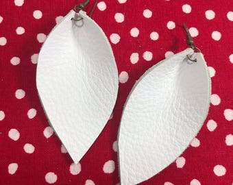 Leather Leaf Earrings: White // leather earrings // white leaves // burthday gift // bridesmaid gift
