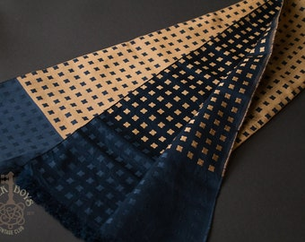 RF Co. 100% Silk Luxury Double-Sided Jacquard Vintage Mens Scarf | Bronze and Blue  Silk Vintage Scarf