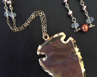 14K Gold-Filled Jasper Arrowhead Necklace wrapped with Pearls, Rose Pyrite & Rose Quartz