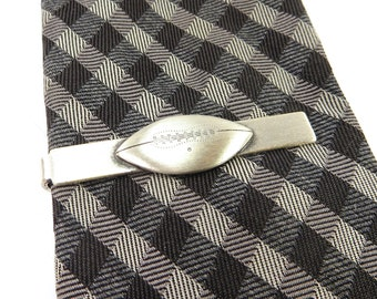 Football Tie Bar Football Tie Clip Sterling Silver Finish Brushed Silver Finish