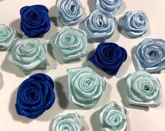 Satin roses Fabric flowers Ribbon flowers Blue Satin ribbon roses Wedding decorations Flower appliques Invitation card Wedding roseS
