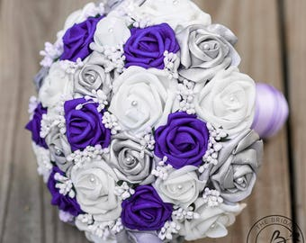 Purple wedding bouquet, royal purple and silver bouquet, alternative bouquet, silver bouquet, bridal bouquet, unique wedding bouquet