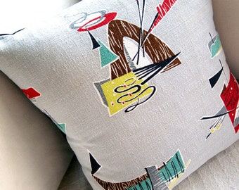 "Indian Teepee Barkcloth Pillow Cover - 1950s Saturday Morning TV Westerns -  17"" x 17"""