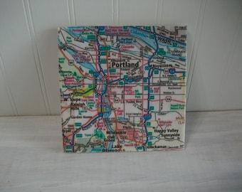 Portland OR Coaster Trivet / Large Size 6 inch Square Tile Map Coaster Trivet with Portland OR and Area Road Map