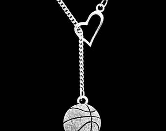 Basketball Sports Mom Gift Heart Y Lariat Necklace