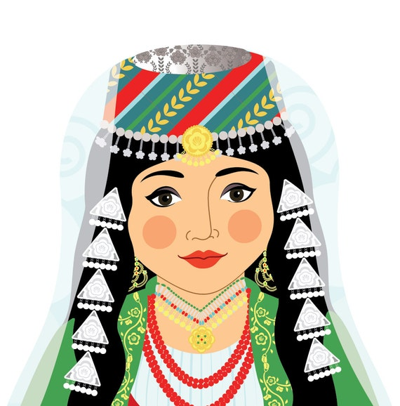 Lebanese Doll Art Print with traditional folk dress, matryoshka