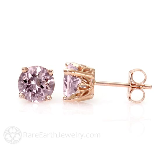 pink halo glass rose amethyst earrings martini stud gold diamond