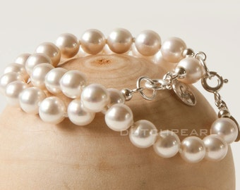 Pearl bracelet hand knotted Swarovski pearls for bride, bridemaid or Mother of the Bride Gift, Bridesmaids Gift Gifts