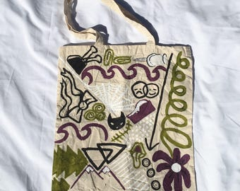 Tote Bag / Handpainted Cotton Bag by Sam Pletcher / 15 inches By 15 inches / Purple and Olive Green / Double Sided Tote Bag