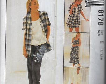 McCall's 8178  Misses' Dress or Top, Jacket, Pull-on Pants OR Shorts  Size (14-18)  UNCUT