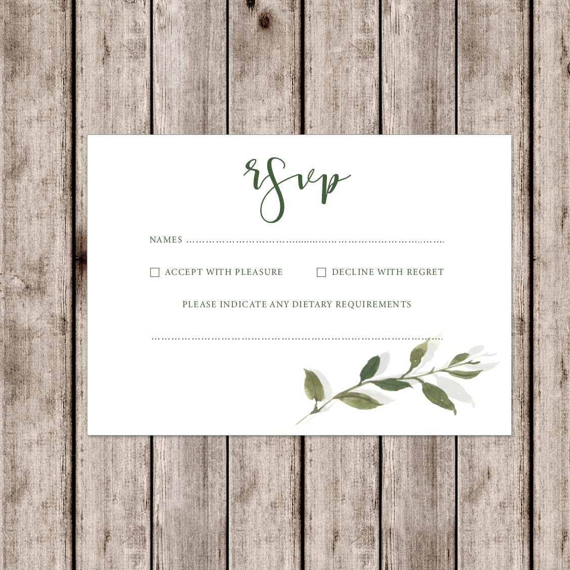 Sophisticated Somerset wedding invitations with leaf detail and