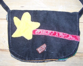 girl child black clutch bag purse