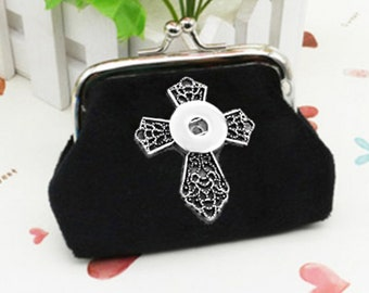 Black Velvet Coin/Change Purse 18-20mm Interchangeable Jewelry Fits Ginger Snaps CROSS