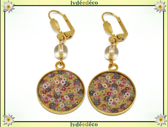 Brass gold 24 k earrings Japan yellow multicolored resin beads gift birthday mother's day wedding thank you teacher