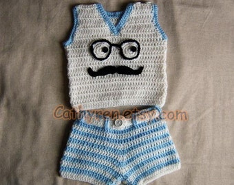 Baby Vest and Shorts/Diaper Cover Set, Photo prop - INSTANT DOWNLOAD Crochet e-Pattern