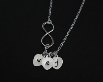 Infinity Necklace. Personalized Sterling Silver Jewelry. 1.2.3.4.5.6 Initial Necklace. Family Keepsake Gift.Silver Heart Necklace. Birthday