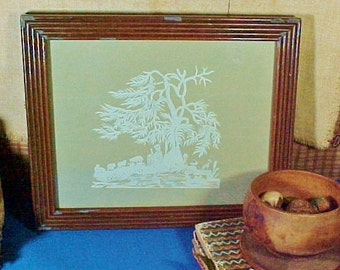 Antique Paper Cutting, Scherenschnitte, Shepherd with Dog and Sheep, Reeded Frame