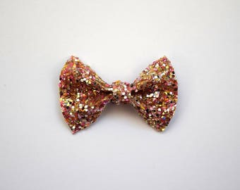Gold MULTI Glitter TINY Alligator Clip Little Bow for Newborn Baby Child Little Girl Adult Photo Prop Adorable Photo Easter Summer Clip