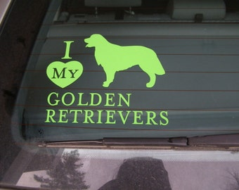 Lime Green GOLDEN RETRIEVER Vinyl Dog Decal Silhouette or pick your color