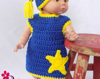 """Baby Doll Clothes  Crochet Baby Doll Clothing  Crochet Baby Doll Blue Pajamas  Crochet Baby Doll Blue Night Shirt and Cap Set  1314"""""""