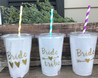 Bride Tribe Party Cup, Wedding, Favor, gift, Custom 16 oz. Clear Plastic Disposable Drink Cups with Tops & Straws